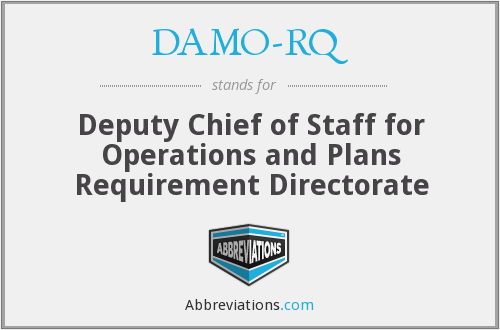 DAMO-RQ - Deputy Chief of Staff for Operations and Plans Requirement Directorate