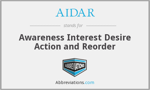 AIDAR - Awareness Interest Desire Action and Reorder