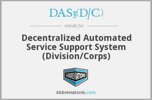 DAS3(D/C) - Decentralized Automated Service Support System (Division/Corps)