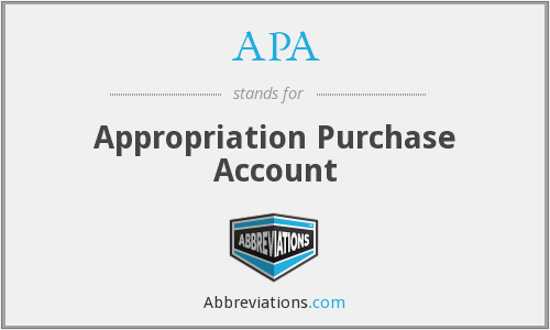APA - Appropriation Purchase Account