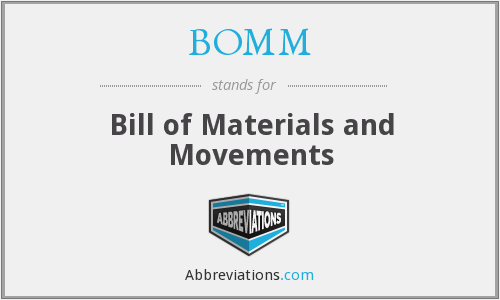 BOMM - Bill of Materials and Movements