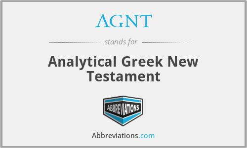 AGNT - Analytical Greek New Testament