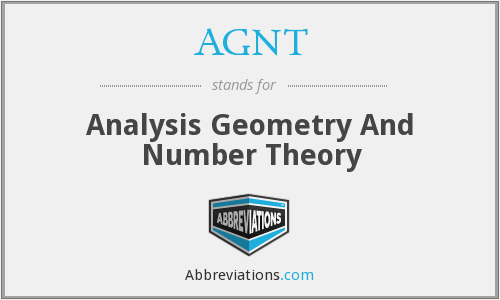AGNT - Analysis Geometry And Number Theory