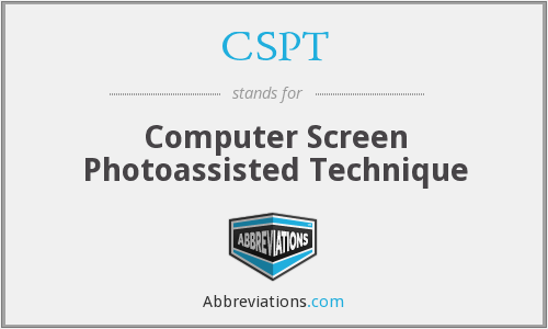 CSPT - Computer Screen Photoassisted Technique