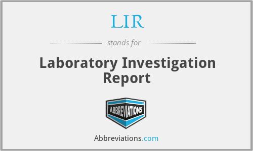 LIR - Laboratory Investigation Report
