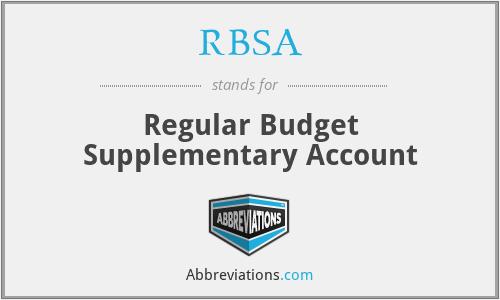 RBSA - Regular Budget Supplementary Account