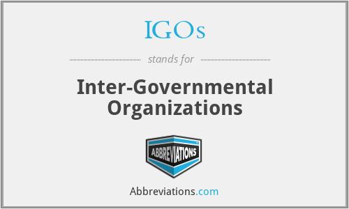 IGOs - Inter-Governmental Organizations