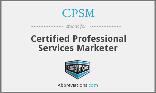 CPSM - Certified Professional Services Marketer