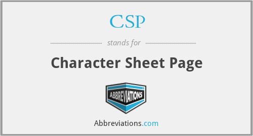 CSP - Character Sheet Page