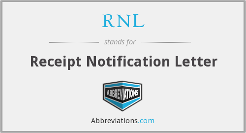 RNL - Receipt Notification Letter