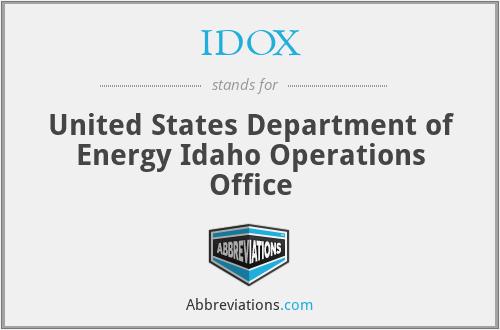 IDOX - United States Department of Energy Idaho Operations Office