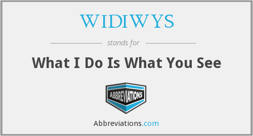 What does WIDIWYS stand for?