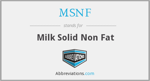 MSNF - Milk Solid Non Fat