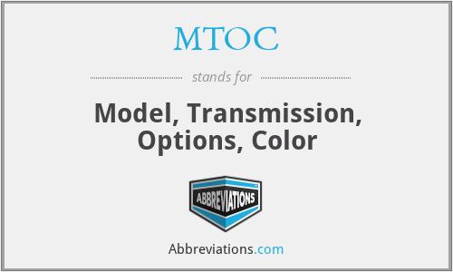 MTOC - Model, Transmission, Options, Color