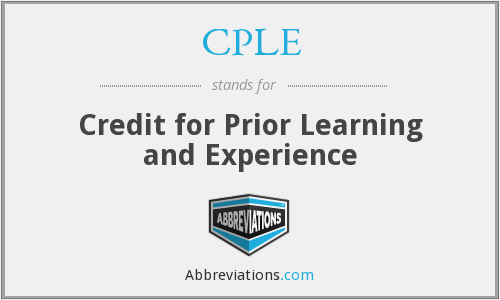CPLE - Credit for Prior Learning and Experience