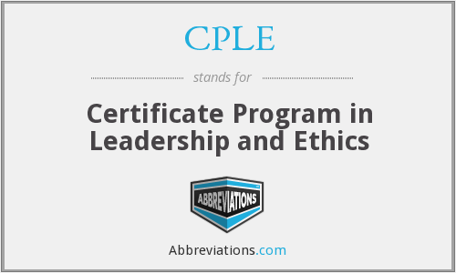 CPLE - Certificate Program in Leadership and Ethics