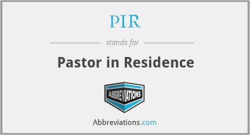 PIR - Pastor in Residence
