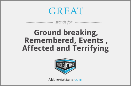 GREAT - Ground breaking, Remembered, Events , Affected and Terrifying
