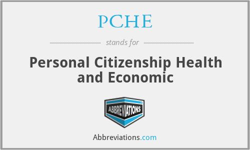 PCHE - Personal Citizenship Health and Economic