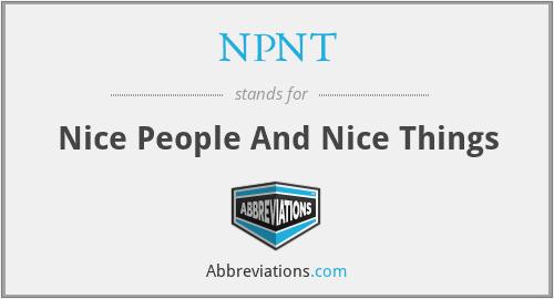 NPNT - Nice People And Nice Things