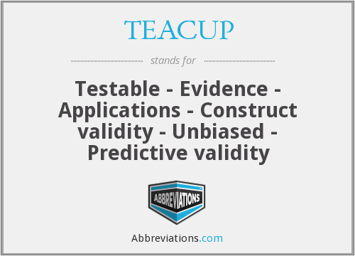TEACUP - Testable - Evidence - Applications - Construct validity - Unbiased - Predictive validity