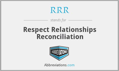 RRR - Respect Relationships Reconciliation