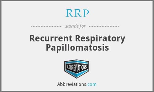 RRP - Recurrent Respiratory Papillomatosis