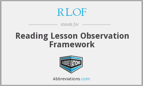 RLOF - Reading Lesson Observation Framework