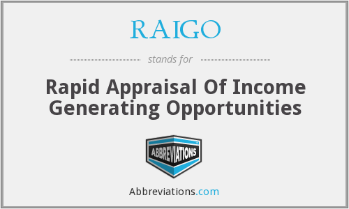 RAIGO - Rapid Appraisal Of Income Generating Opportunities