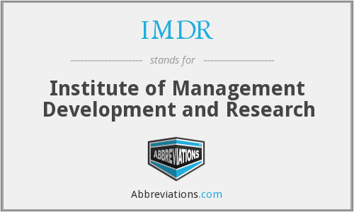 What does IMDR stand for?