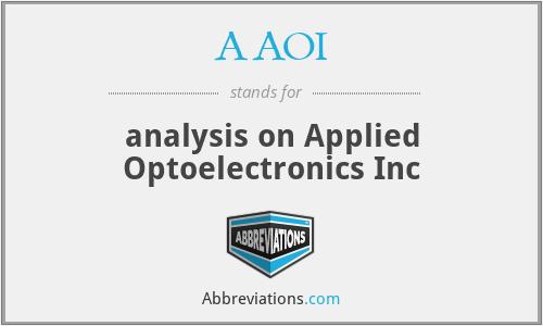 AAOI - analysis on Applied Optoelectronics Inc