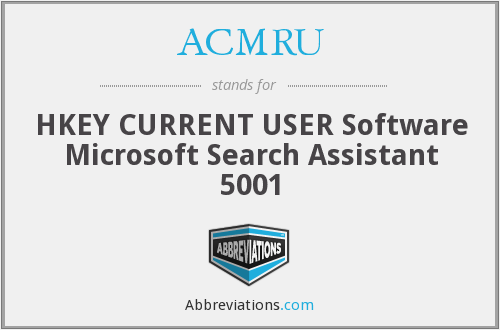 ACMRU - HKEY CURRENT USER Software Microsoft Search Assistant 5001