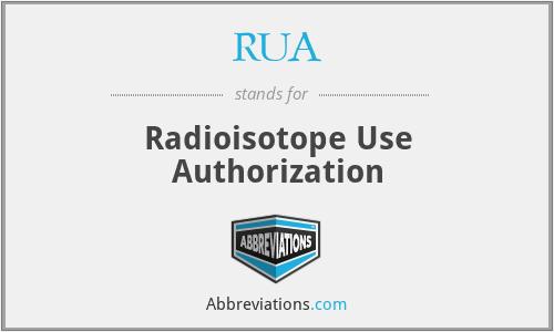 RUA - Radioisotope Use Authorization