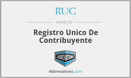 RUC - Registro Unico De Contribuyente