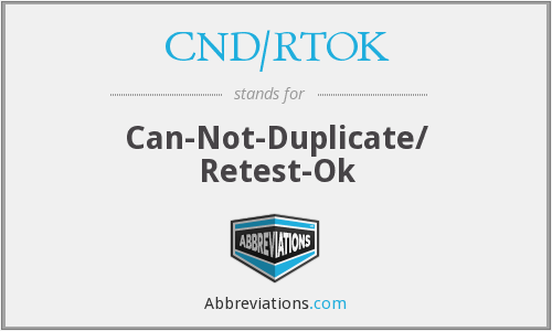 What does CND/RTOK stand for?