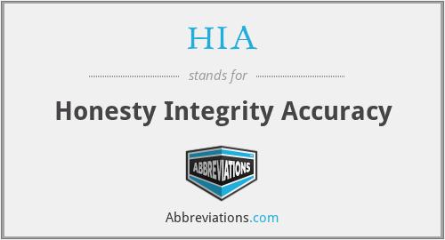 HIA - Honesty Integrity Accuracy