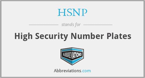 HSNP - High Security Number Plates