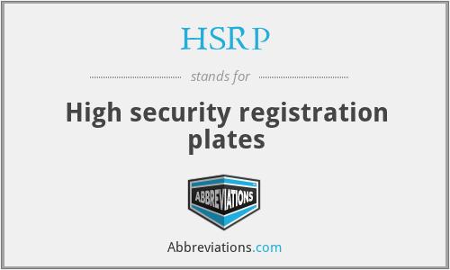 HSRP - High security registration plates
