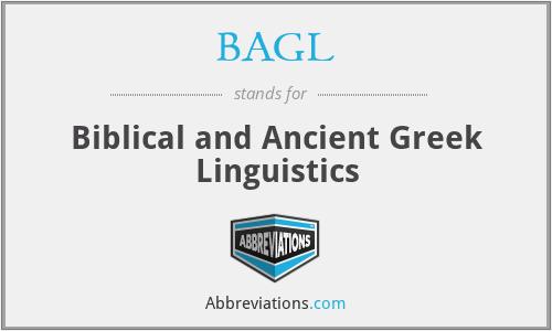 BAGL - Biblical and Ancient Greek Linguistics
