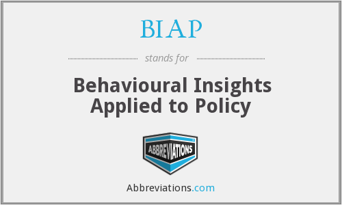 BIAP - Behavioural Insights Applied to Policy