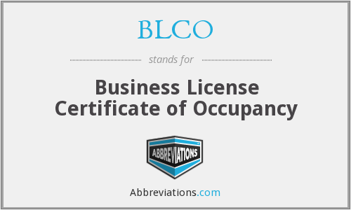 BLCO - Business License Certificate of Occupancy