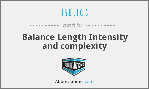 BLIC - Balance Length Intensity and complexity