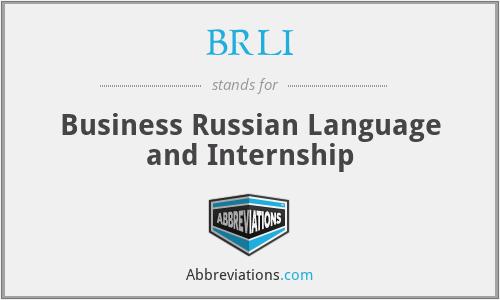 BRLI - Business Russian Language and Internship