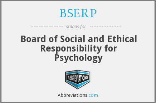 BSERP - Board of Social and Ethical Responsibility for Psychology