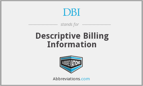 DBI - Descriptive Billing Information