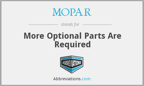 MOPAR - More Optional Parts Are Required