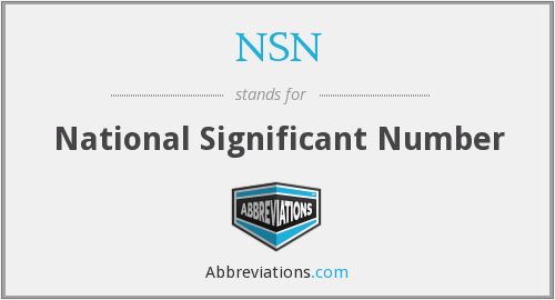 NSN - National Significant Number