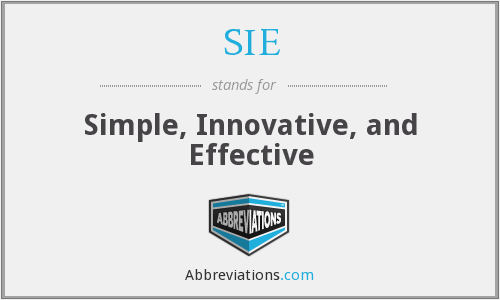 SIE - Simple, Innovative, and Effective