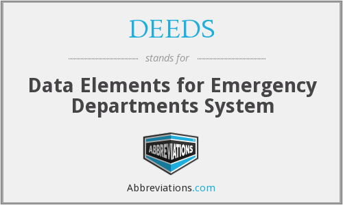 DEEDS - Data Elements for Emergency Departments System