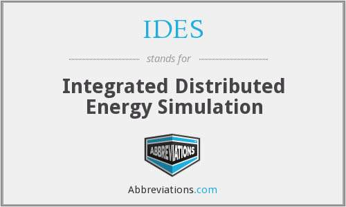 IDES - Integrated Distributed Energy Simulation